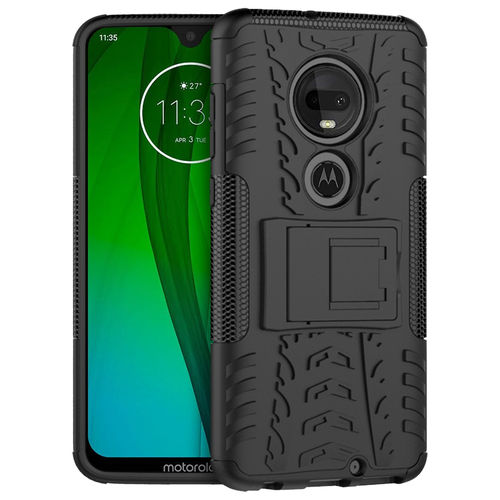 Dual Layer Rugged Tough Case for Motorola Moto G7 / G7 Plus - Black